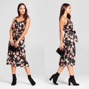 A New Day | Black & Pink Satin Floral Midi Dress